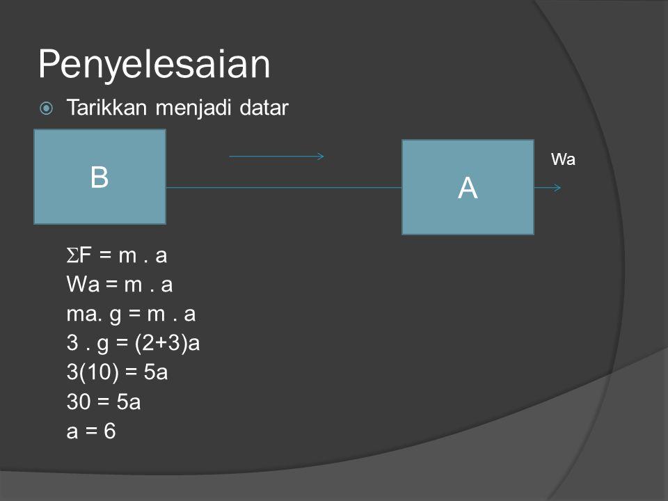 Penyelesaian  Tarikkan menjadi datar  F = m. a Wa = m. a ma. g = m. a 3. g = (2+3)a 3(10) = 5a 30 = 5a a = 6 A B Wa