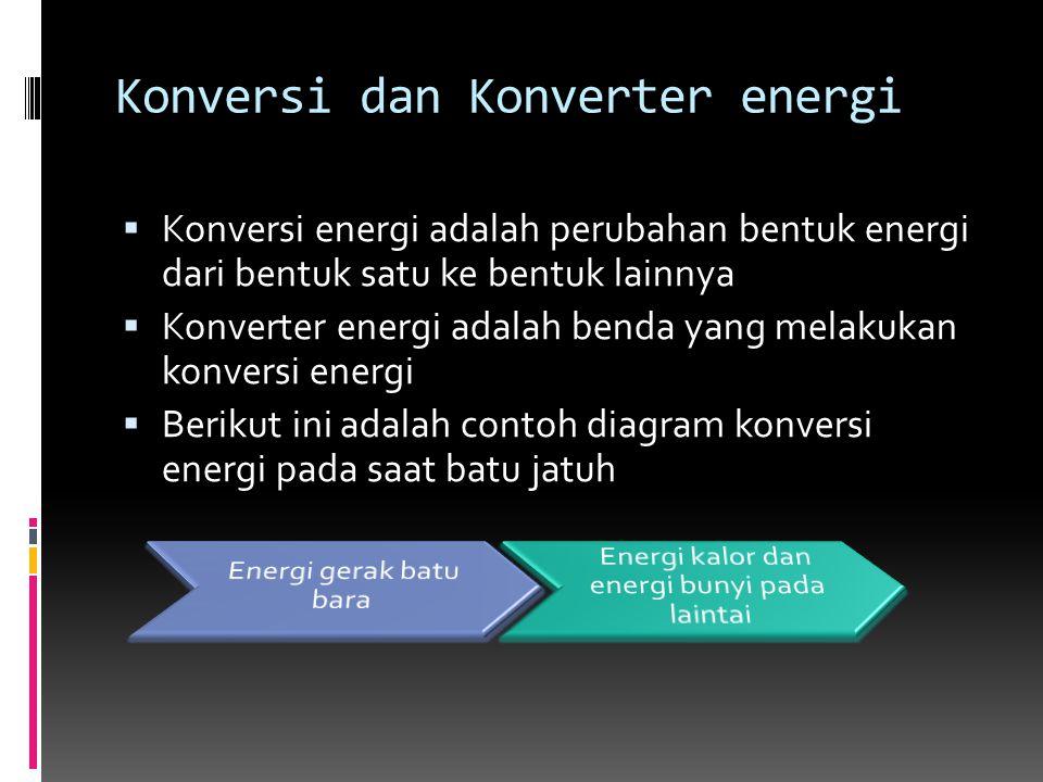 Konversi dan Konverter energi  Konversi energi adalah perubahan bentuk energi dari bentuk satu ke bentuk lainnya  Konverter energi adalah benda yang