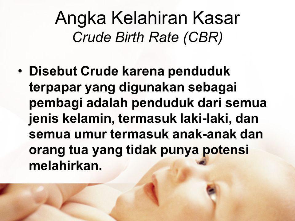 Angka Kelahiran Kasar Crude Birth Rate (CBR) •Disebut Crude karena penduduk terpapar yang digunakan sebagai pembagi adalah penduduk dari semua jenis kelamin, termasuk laki-laki, dan semua umur termasuk anak-anak dan orang tua yang tidak punya potensi melahirkan.