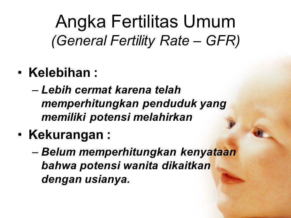 Angka Fertilitas Umum (General Fertility Rate – GFR) •Kelebihan : –Lebih cermat karena telah memperhitungkan penduduk yang memiliki potensi melahirkan •Kekurangan : –Belum memperhitungkan kenyataan bahwa potensi wanita dikaitkan dengan usianya.