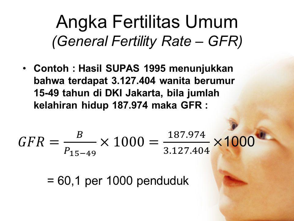 Angka Fertilitas Umum (General Fertility Rate – GFR) •Contoh : Hasil SUPAS 1995 menunjukkan bahwa terdapat 3.127.404 wanita berumur 15-49 tahun di DKI