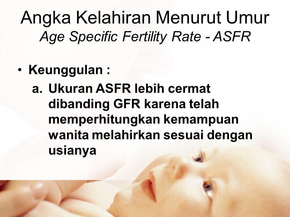 Angka Kelahiran Menurut Umur Age Specific Fertility Rate - ASFR •Keunggulan : a.Ukuran ASFR lebih cermat dibanding GFR karena telah memperhitungkan kemampuan wanita melahirkan sesuai dengan usianya