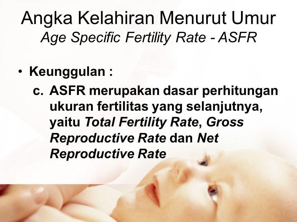 Angka Kelahiran Menurut Umur Age Specific Fertility Rate - ASFR •Keunggulan : c.ASFR merupakan dasar perhitungan ukuran fertilitas yang selanjutnya, yaitu Total Fertility Rate, Gross Reproductive Rate dan Net Reproductive Rate