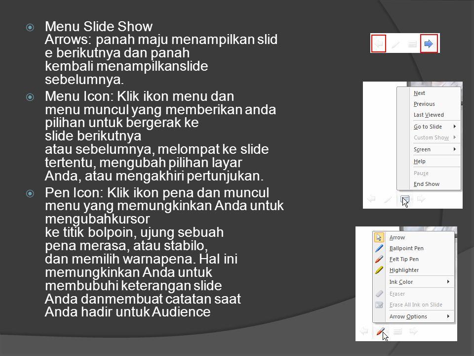  Menu Slide Show Arrows: panah maju menampilkan slid e berikutnya dan panah kembali menampilkanslide sebelumnya.  Menu Icon: Klik ikon menu dan menu