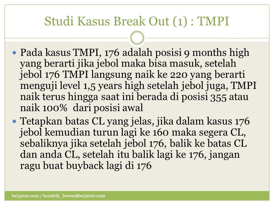 Studi Kasus Break Out (1) : TMPI  Pada kasus TMPI, 176 adalah posisi 9 months high yang berarti jika jebol maka bisa masuk, setelah jebol 176 TMPI la