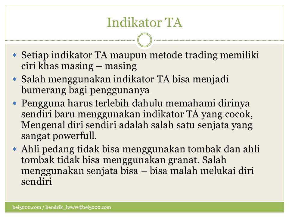 Indikator TA  Setiap indikator TA maupun metode trading memiliki ciri khas masing – masing  Salah menggunakan indikator TA bisa menjadi bumerang bag