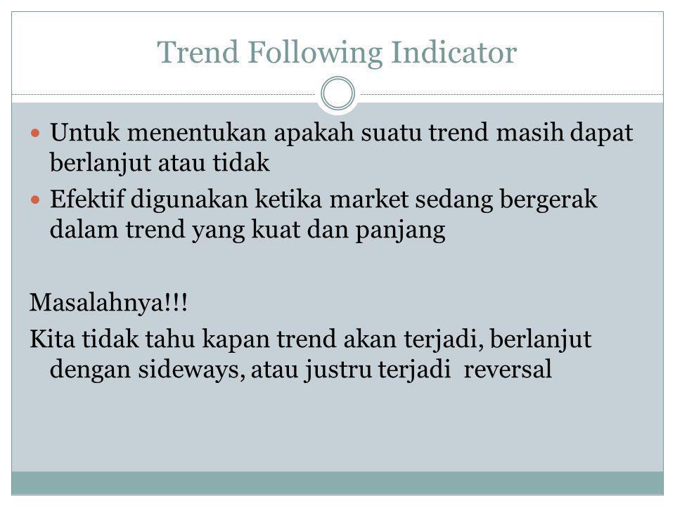 Trend Following Indicator  Untuk menentukan apakah suatu trend masih dapat berlanjut atau tidak  Efektif digunakan ketika market sedang bergerak dalam trend yang kuat dan panjang Masalahnya!!.