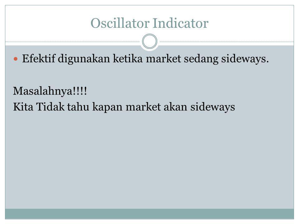 Oscillator Indicator  Efektif digunakan ketika market sedang sideways. Masalahnya!!!! Kita Tidak tahu kapan market akan sideways