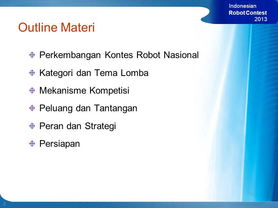 2 Indonesian Robot Contest 2013 Perkembangan Kontes Robot Nasional Kategori dan Tema Lomba Mekanisme Kompetisi Peluang dan Tantangan Peran dan Strateg