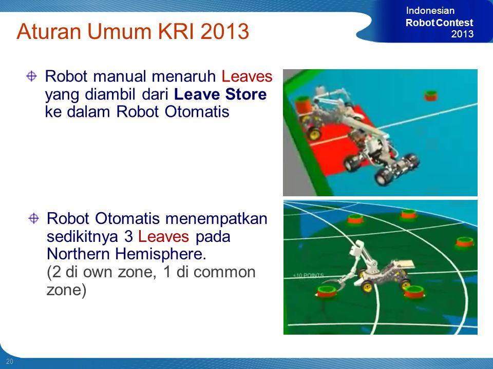 20 Indonesian Robot Contest 2013 Aturan Umum KRI 2013 Robot manual menaruh Leaves yang diambil dari Leave Store ke dalam Robot Otomatis Robot Otomatis