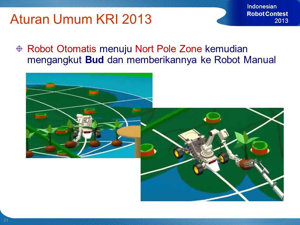 21 Indonesian Robot Contest 2013 Aturan Umum KRI 2013 Robot Otomatis menuju Nort Pole Zone kemudian mengangkut Bud dan memberikannya ke Robot Manual