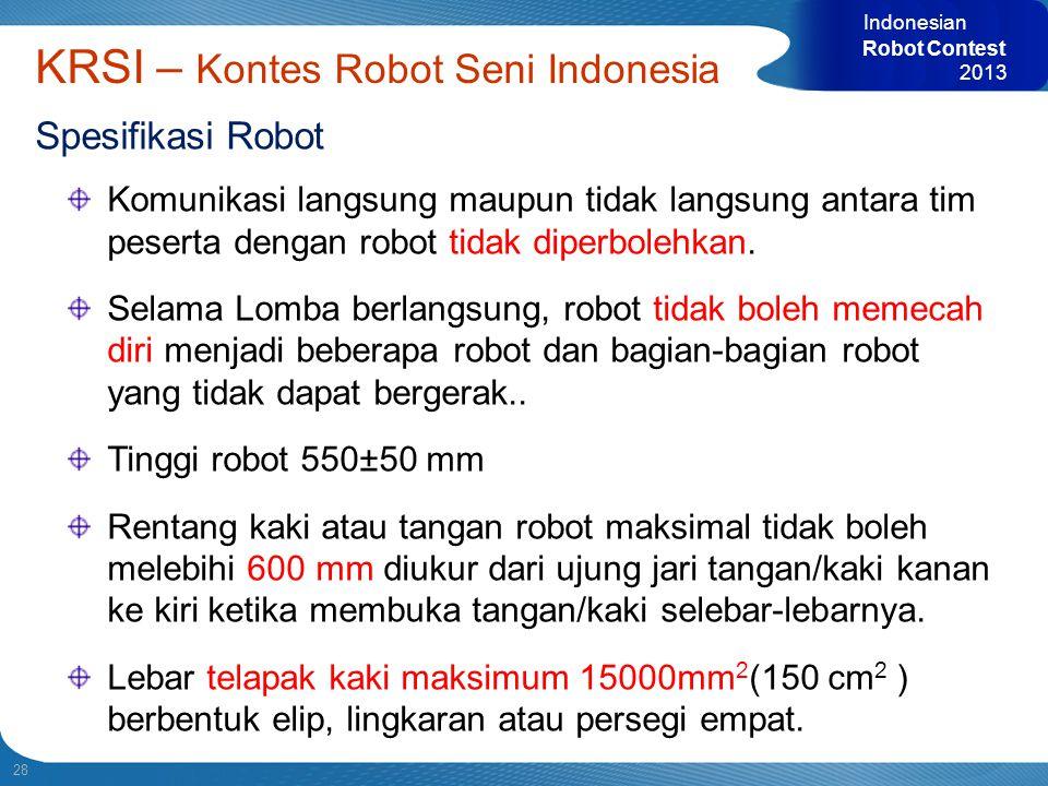 28 Indonesian Robot Contest 2013 KRSI – Kontes Robot Seni Indonesia Spesifikasi Robot Komunikasi langsung maupun tidak langsung antara tim peserta den