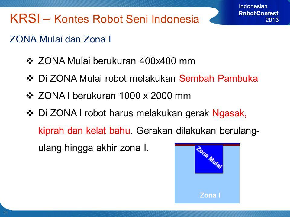 31 Indonesian Robot Contest 2013 KRSI – Kontes Robot Seni Indonesia ZONA Mulai dan Zona I  ZONA Mulai berukuran 400x400 mm  Di ZONA Mulai robot mela