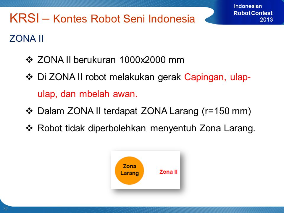 32 Indonesian Robot Contest 2013 KRSI – Kontes Robot Seni Indonesia ZONA II  ZONA II berukuran 1000x2000 mm  Di ZONA II robot melakukan gerak Caping