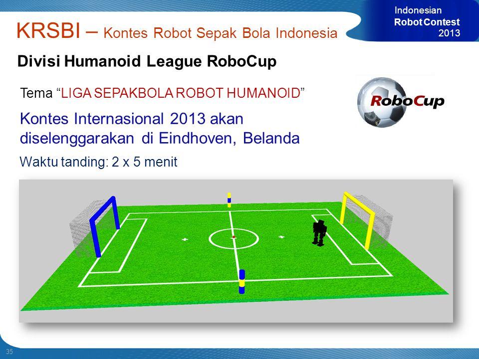 35 Indonesian Robot Contest 2013 KRSBI – Kontes Robot Sepak Bola Indonesia Divisi Humanoid League RoboCup Kontes Internasional 2013 akan diselenggarak