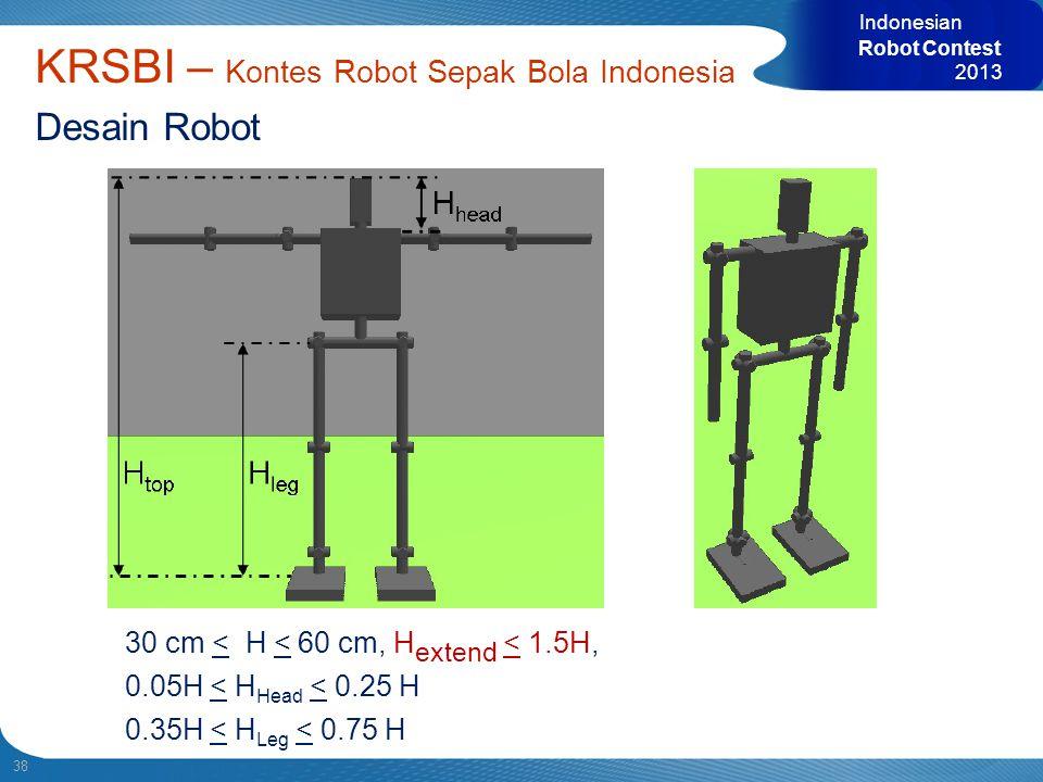 38 KRSBI – Kontes Robot Sepak Bola Indonesia Desain Robot 30 cm < H < 60 cm, H extend < 1.5H, 0.05H < H Head < 0.25 H 0.35H < H Leg < 0.75 H Indonesia