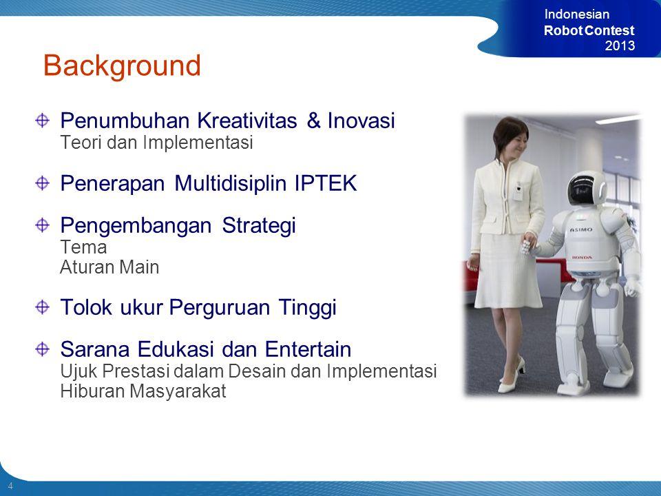 4 Indonesian Robot Contest 2013 Penumbuhan Kreativitas & Inovasi Teori dan Implementasi Penerapan Multidisiplin IPTEK Pengembangan Strategi Tema Atura