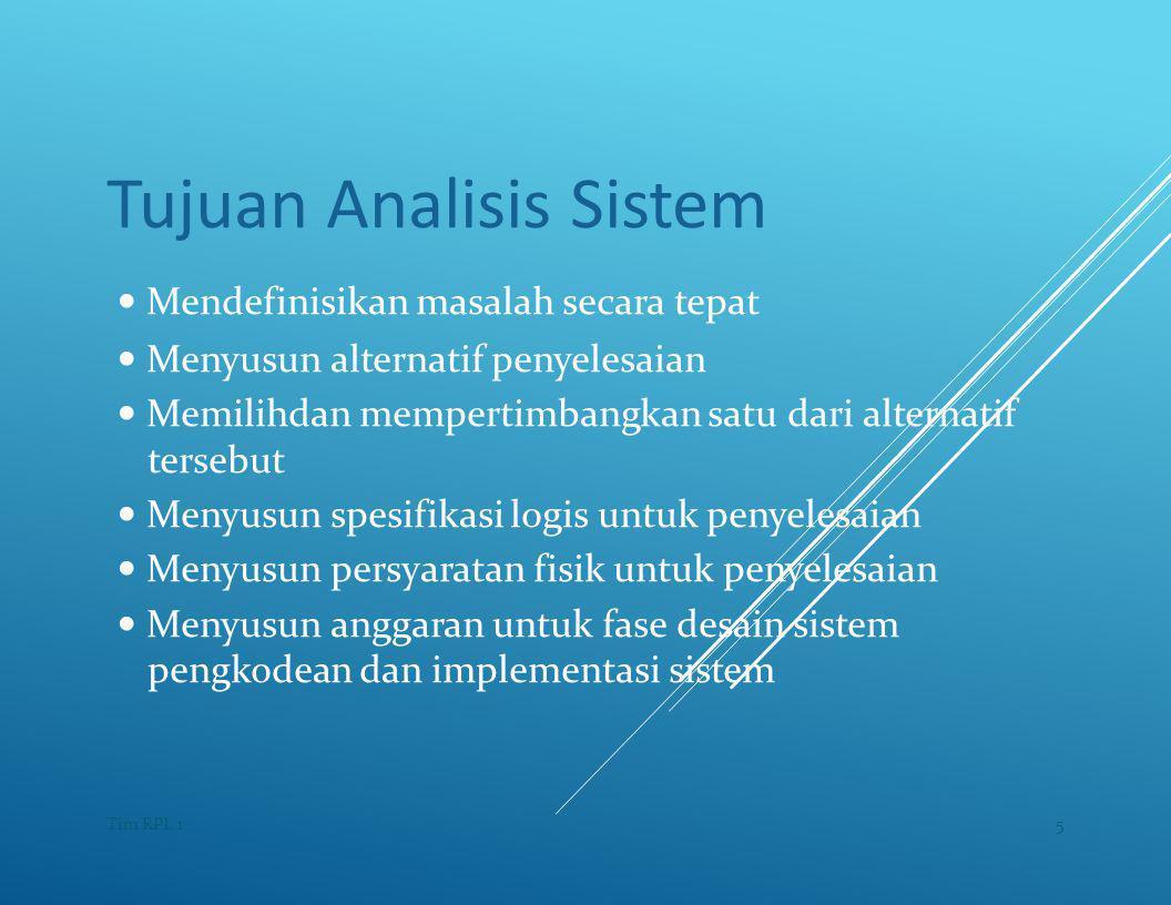 Tujuan Analisis Sistem — Mendefinisikan masalah secara tepat — Menyusun alternatif penyelesaian — Memilihdan mempertimbangkan satu dari alternatif tersebut — Menyusun spesifikasi logis untuk penyelesaian — Menyusun persyaratan fisik untuk penyelesaian — Menyusun anggaran untuk fase desain sistem pengkodean dan implementasi sistem 5Tim RPL 1