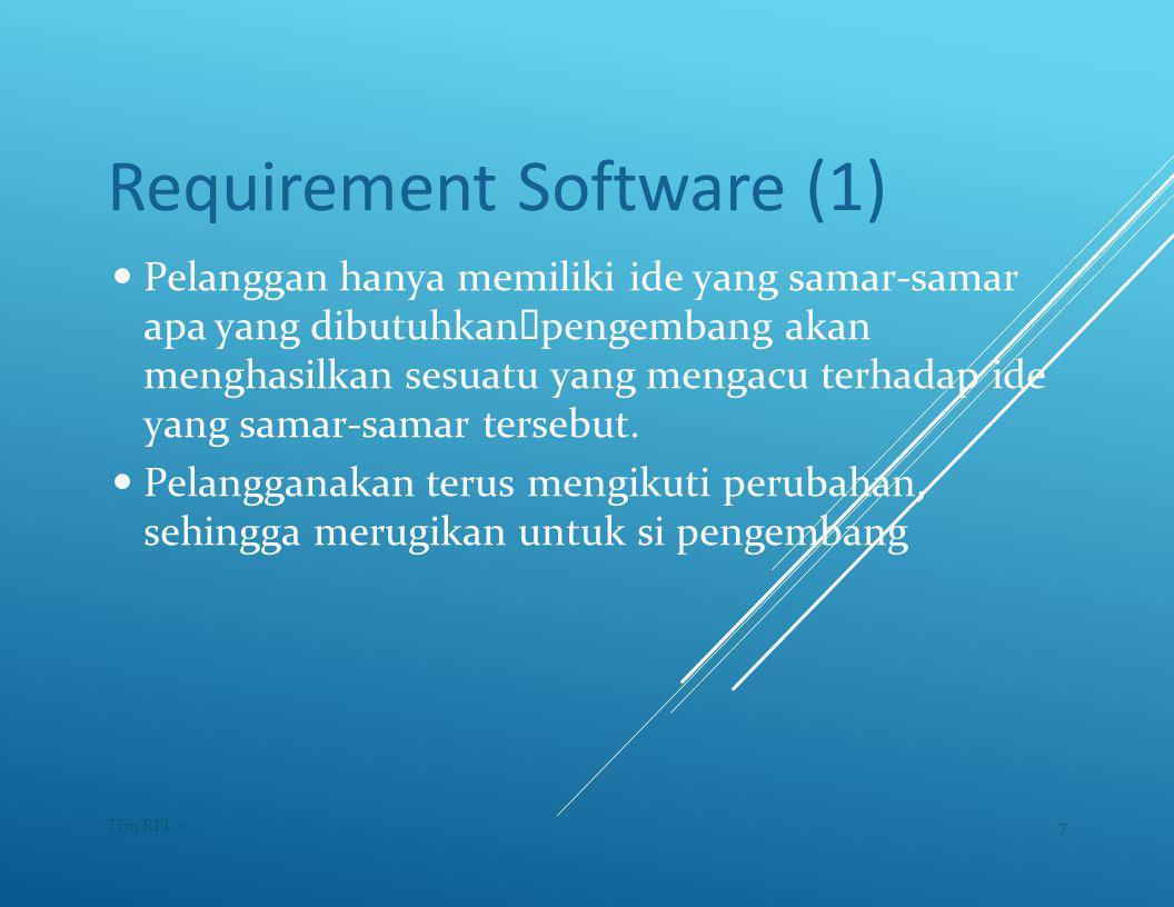 Requirement Software (1) — Pelanggan hanya memiliki ide yang samar-samar apa yang dibutuhkan  pengembang akan menghasilkan sesuatu yang mengacu terhadap ide yang samar-samar tersebut.