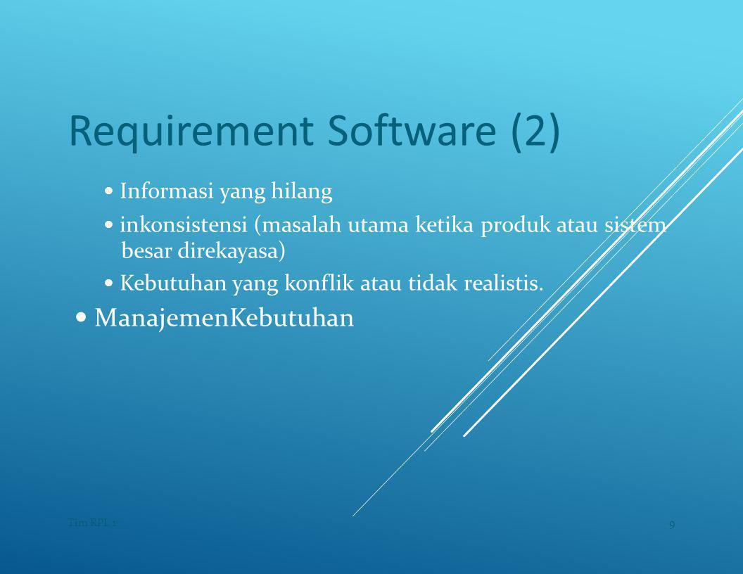Requirement Software (2) — Informasi yang hilang — inkonsistensi (masalah utama ketika produk atau sistem besar direkayasa) — Kebutuhan yang konflik atau tidak realistis.