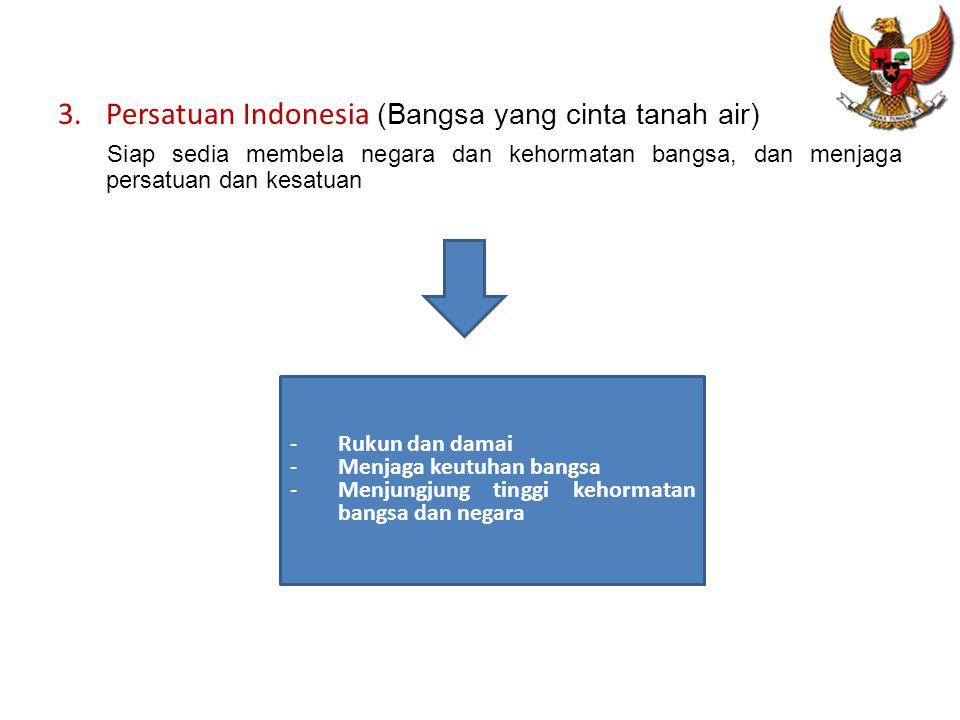 3.Persatuan Indonesia (Bangsa yang cinta tanah air) Siap sedia membela negara dan kehormatan bangsa, dan menjaga persatuan dan kesatuan -Rukun dan damai -Menjaga keutuhan bangsa -Menjungjung tinggi kehormatan bangsa dan negara