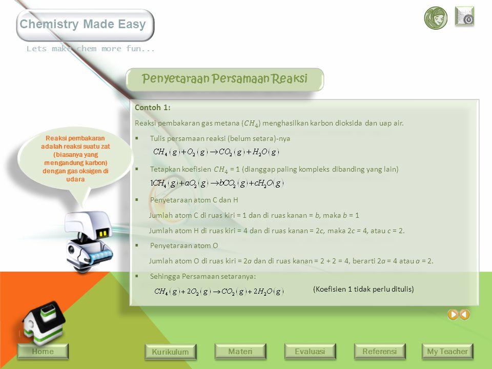 Home Kurikulum Evaluasi Referensi My Teacher Materi Lets make chem more fun... Chemistry Made Easy Menyetarakan Persamaan Reaksi Persamaan kimia harus