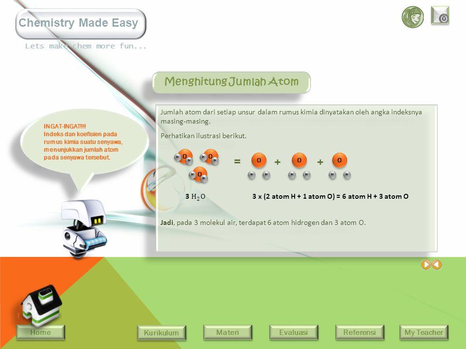 Home Kurikulum Evaluasi Referensi My Teacher Materi Lets make chem more fun... Chemistry Made Easy Rumus kimia senyawa dapat berupa rumus molekul (RM)