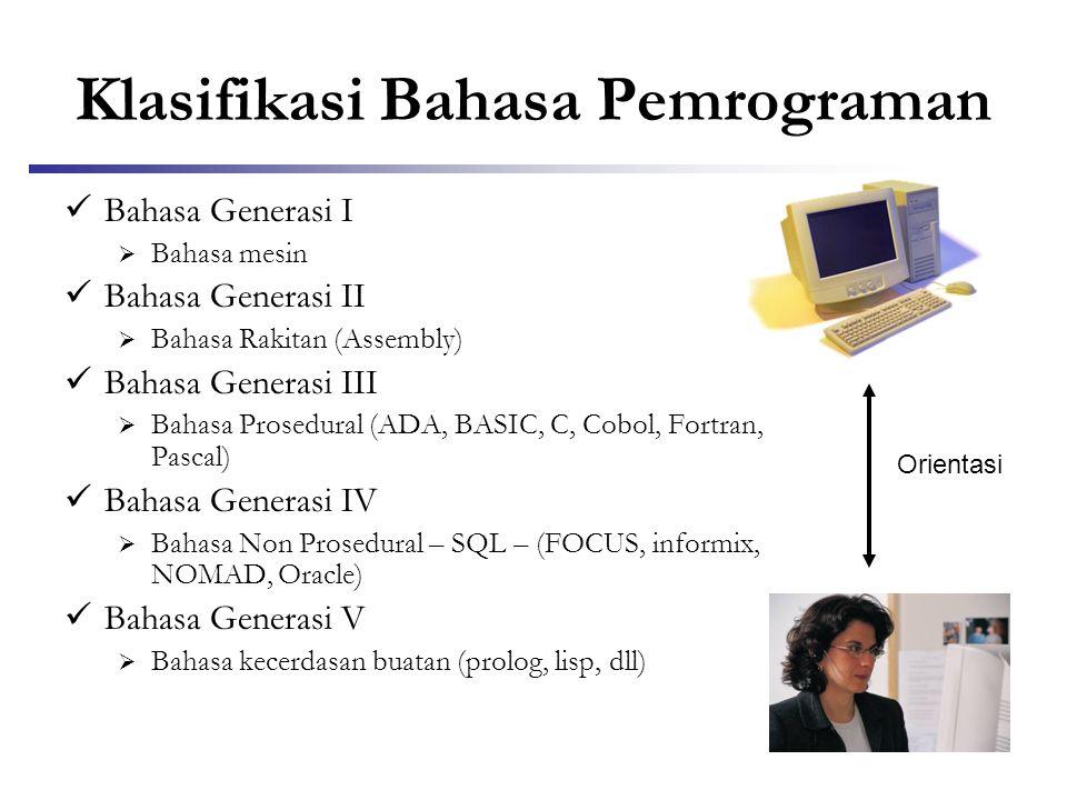 Klasifikasi Bahasa Pemrograman  Bahasa Generasi I  Bahasa mesin  Bahasa Generasi II  Bahasa Rakitan (Assembly)  Bahasa Generasi III  Bahasa Pros