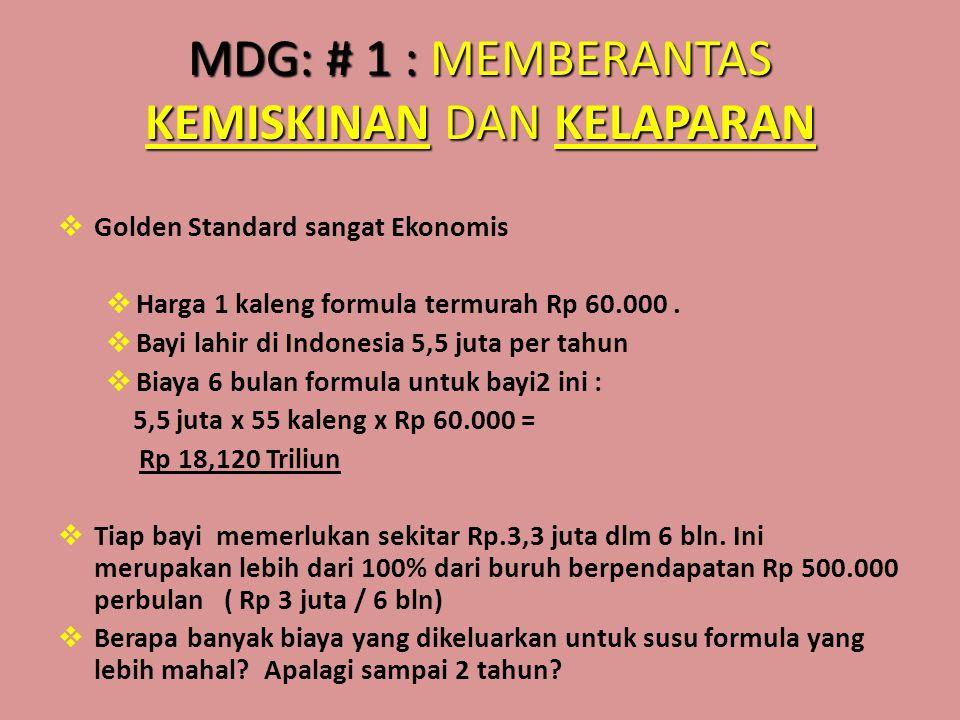 MDG: # 1 : MEMBERANTAS KEMISKINAN DAN KELAPARAN  Golden Standard sangat Ekonomis  Harga 1 kaleng formula termurah Rp 60.000.  Bayi lahir di Indones