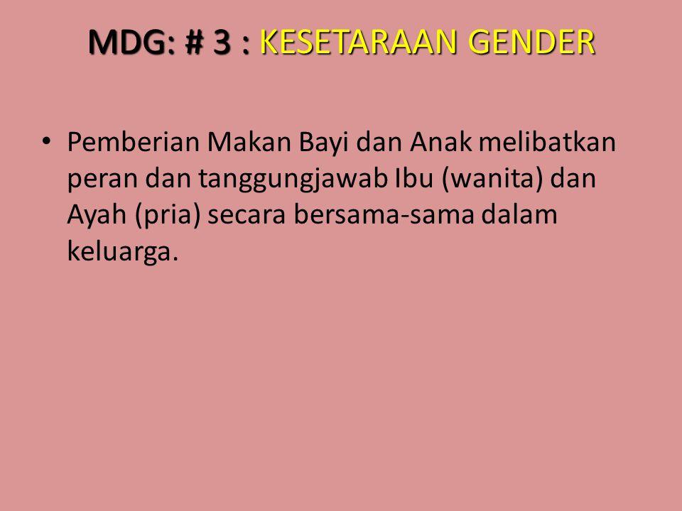 MDG: # 3 : KESETARAAN GENDER • Pemberian Makan Bayi dan Anak melibatkan peran dan tanggungjawab Ibu (wanita) dan Ayah (pria) secara bersama-sama dalam