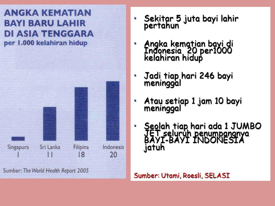 •Sekitar 5 juta bayi lahir pertahun •Angka kematian bayi di Indonesia 20 per1000 kelahiran hidup •Jadi tiap hari 246 bayi meninggal •Atau setiap 1 jam