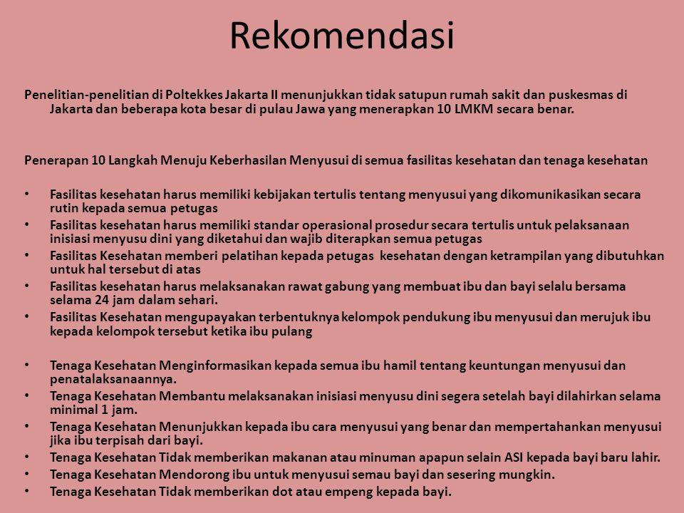 Rekomendasi Penelitian-penelitian di Poltekkes Jakarta II menunjukkan tidak satupun rumah sakit dan puskesmas di Jakarta dan beberapa kota besar di pu