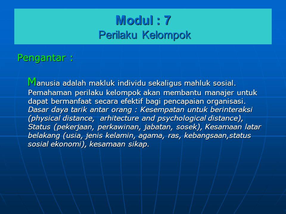 Modul : 7 Perilaku Kelompok Pengantar : M anusia adalah makluk individu sekaligus mahluk sosial. Pemahaman perilaku kelompok akan membantu manajer unt