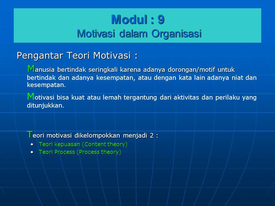 Modul : 9 Motivasi dalam Organisasi Pengantar Teori Motivasi : M anusia bertindak seringkali karena adanya dorongan/motif untuk M anusia bertindak ser