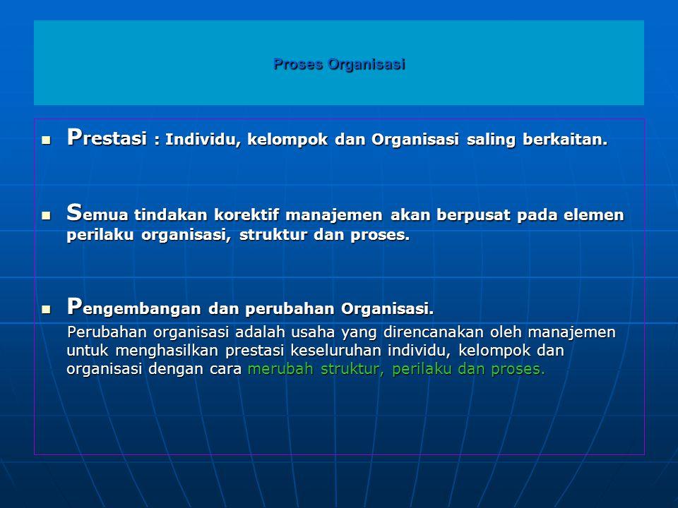 Proses Organisasi  P restasi : Individu, kelompok dan Organisasi saling berkaitan.  S emua tindakan korektif manajemen akan berpusat pada elemen per