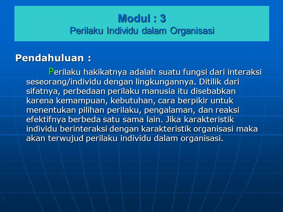 Modul : 3 Perilaku Individu dalam Organisasi Pendahuluan : P erilaku hakikatnya adalah suatu fungsi dari interaksi seseorang/individu dengan lingkunga