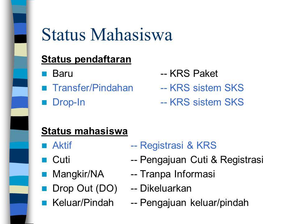Status Mahasiswa Status pendaftaran  Baru-- KRS Paket  Transfer/Pindahan-- KRS sistem SKS  Drop-In-- KRS sistem SKS Status mahasiswa  Aktif-- Regi
