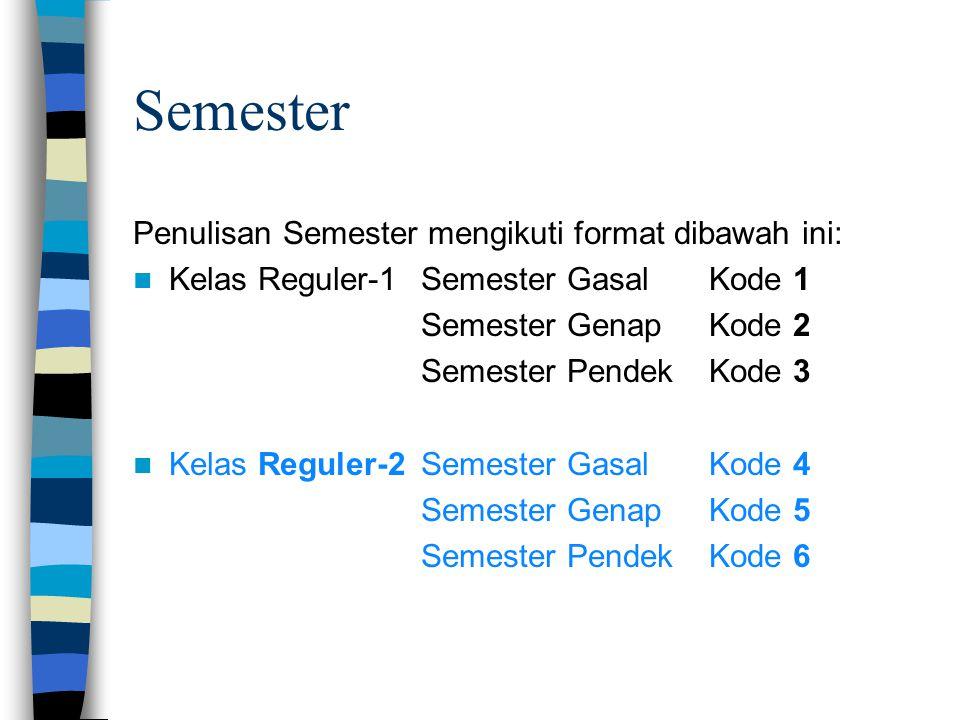 Semester Penulisan Semester mengikuti format dibawah ini:  Kelas Reguler-1Semester GasalKode 1 Semester GenapKode 2 Semester PendekKode 3  Kelas Reg