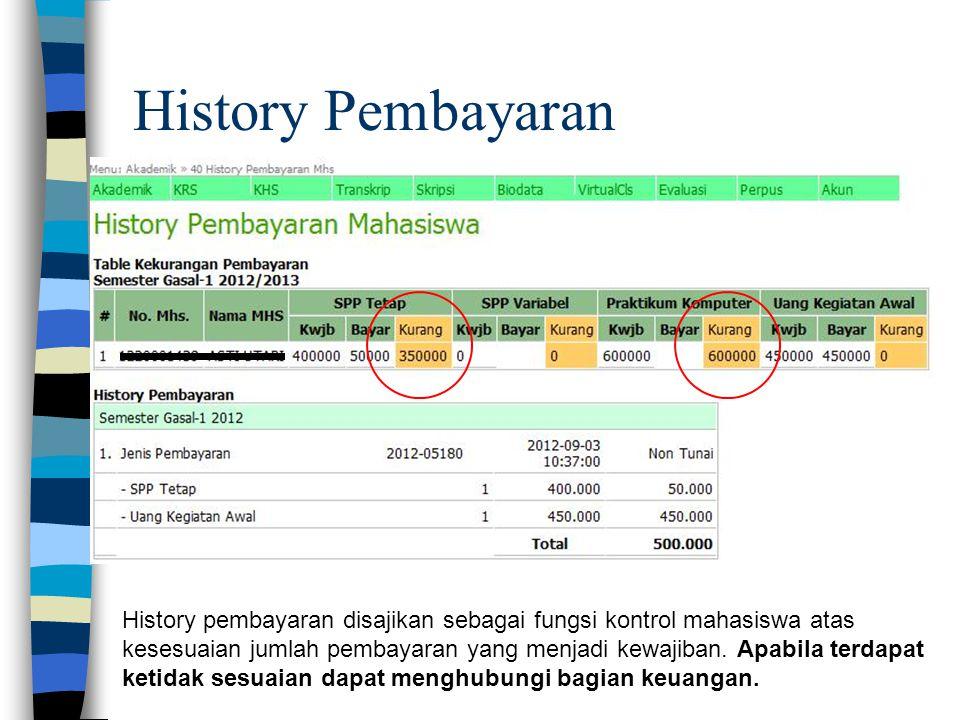 History Pembayaran History pembayaran disajikan sebagai fungsi kontrol mahasiswa atas kesesuaian jumlah pembayaran yang menjadi kewajiban. Apabila ter