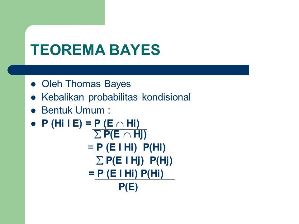 TEOREMA BAYES  Oleh Thomas Bayes  Kebalikan probabilitas kondisional  Bentuk Umum :  P (Hi l E) = P (E  Hi)  P(E  Hj) = P (E l Hi) P(Hi)  P(E