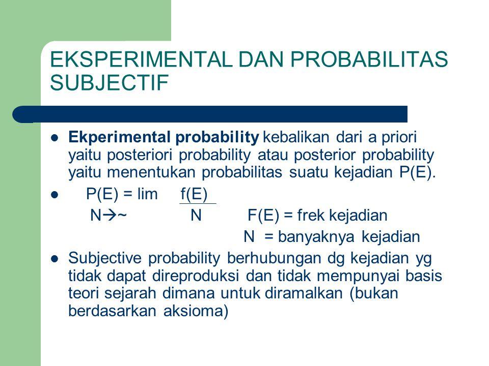 EKSPERIMENTAL DAN PROBABILITAS SUBJECTIF  Ekperimental probability kebalikan dari a priori yaitu posteriori probability atau posterior probability ya