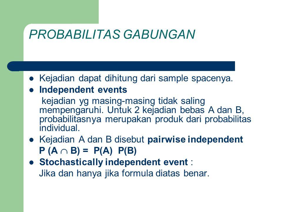 PROBABILITAS GABUNGAN  Kejadian dapat dihitung dari sample spacenya.  Independent events kejadian yg masing-masing tidak saling mempengaruhi. Untuk