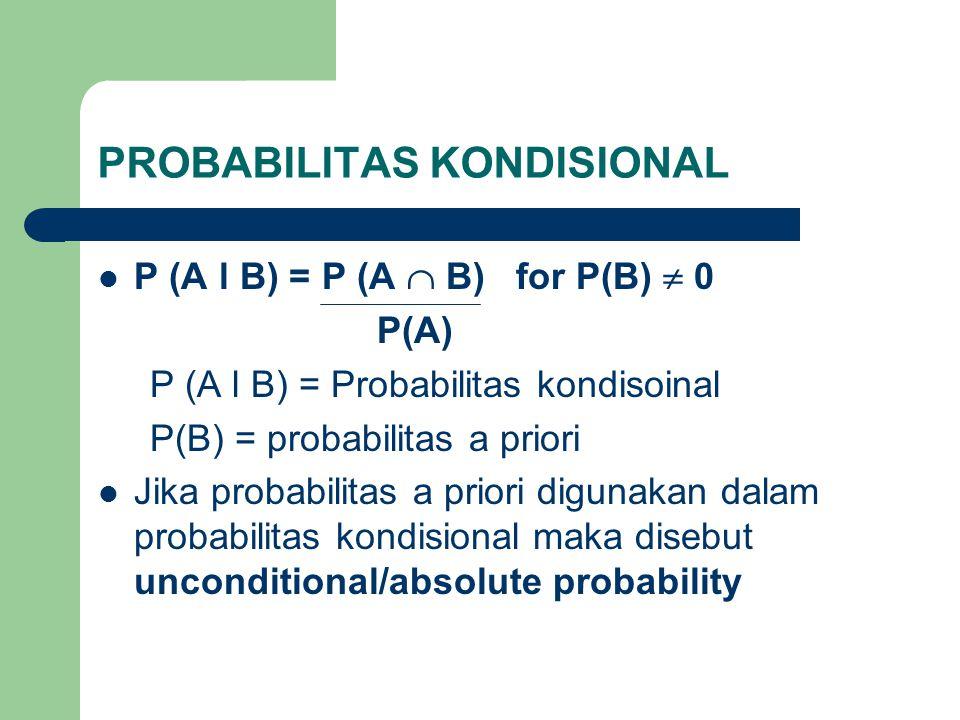 PROBABILITAS KONDISIONAL  P (A l B) = P (A  B) for P(B)  0 P(A) P (A l B) = Probabilitas kondisoinal P(B) = probabilitas a priori  Jika probabilit