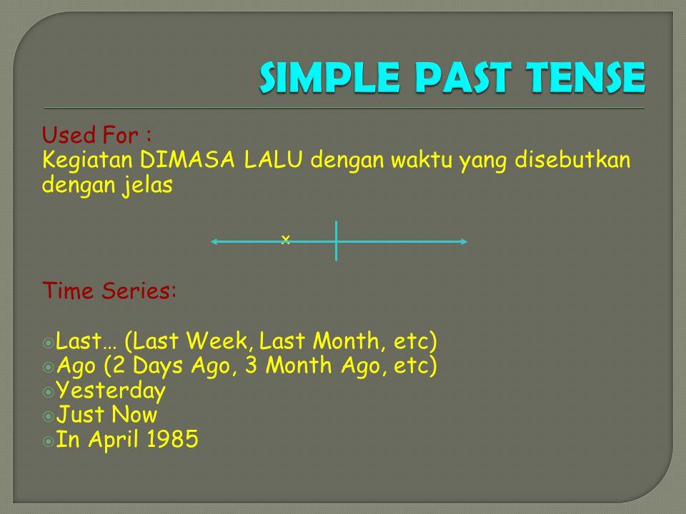 Used For : Kegiatan DIMASA LALU dengan waktu yang disebutkan dengan jelas X Time Series: LLast… (Last Week, Last Month, etc) AAgo (2 Days Ago, 3 Month Ago, etc) YYesterday JJust Now IIn April 1985