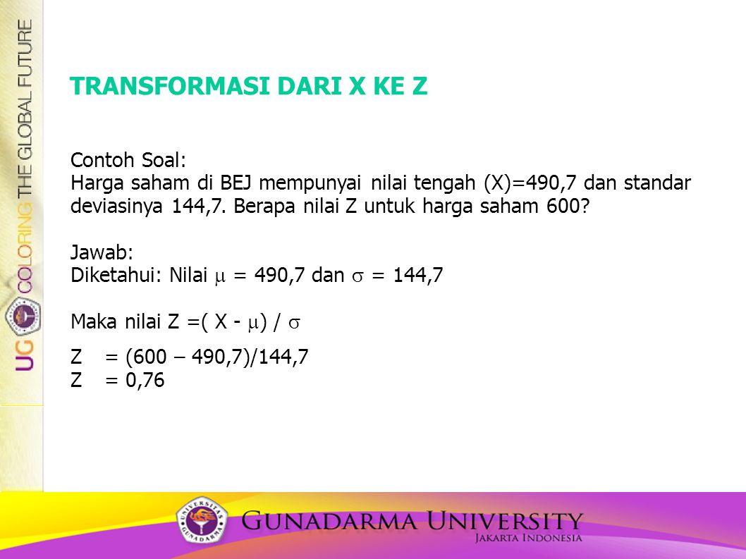 TRANSFORMASI DARI X KE Z Contoh Soal: Harga saham di BEJ mempunyai nilai tengah (X)=490,7 dan standar deviasinya 144,7. Berapa nilai Z untuk harga sah