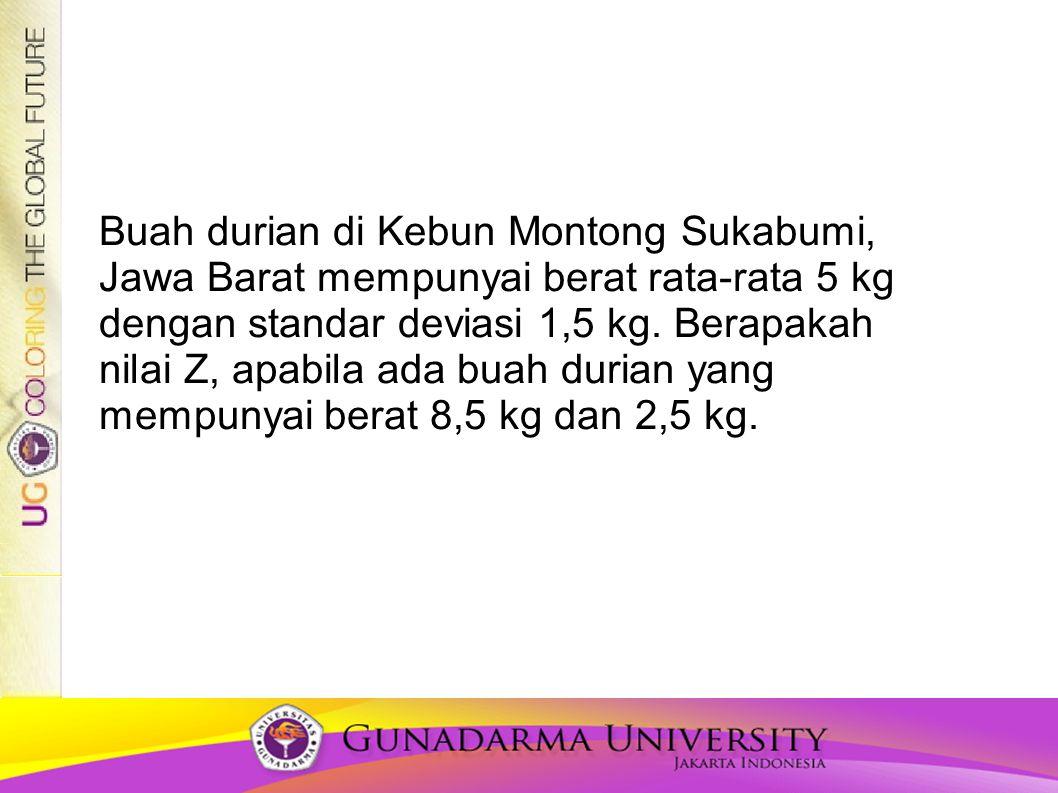 Buah durian di Kebun Montong Sukabumi, Jawa Barat mempunyai berat rata-rata 5 kg dengan standar deviasi 1,5 kg. Berapakah nilai Z, apabila ada buah du