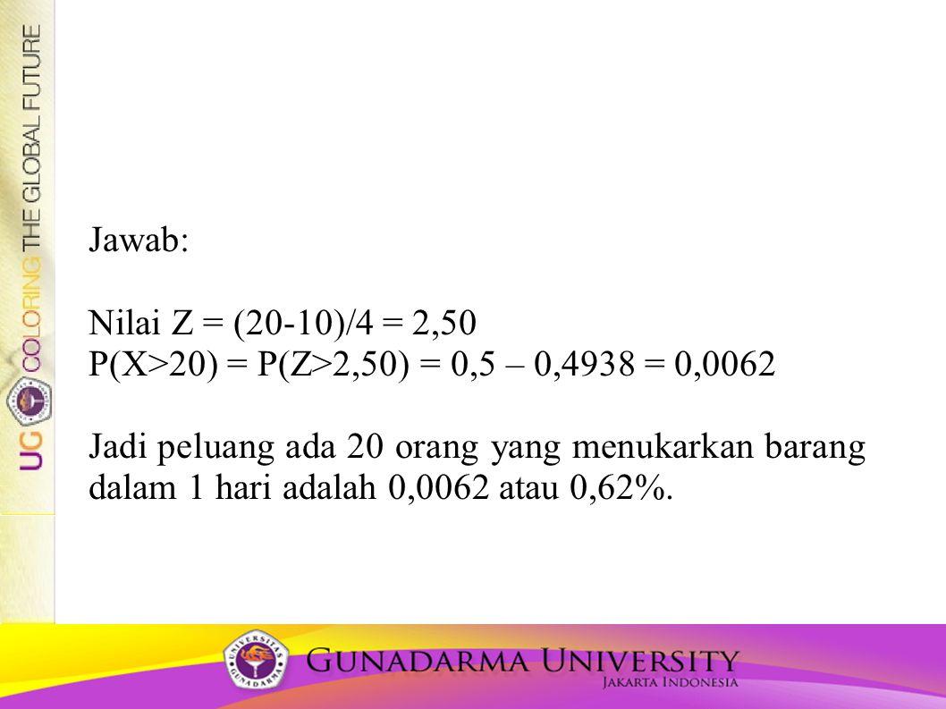 Jawab: Nilai Z = (20-10)/4 = 2,50 P(X>20) = P(Z>2,50) = 0,5 – 0,4938 = 0,0062 Jadi peluang ada 20 orang yang menukarkan barang dalam 1 hari adalah 0,0062 atau 0,62%.