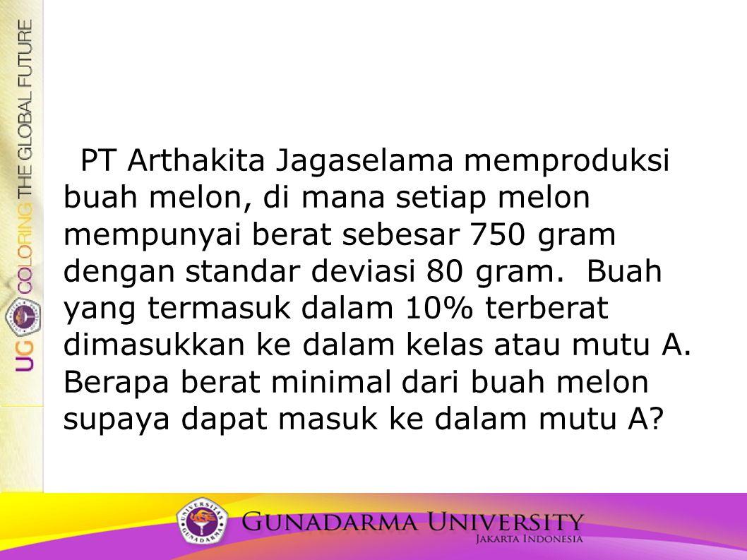 PT Arthakita Jagaselama memproduksi buah melon, di mana setiap melon mempunyai berat sebesar 750 gram dengan standar deviasi 80 gram. Buah yang termas