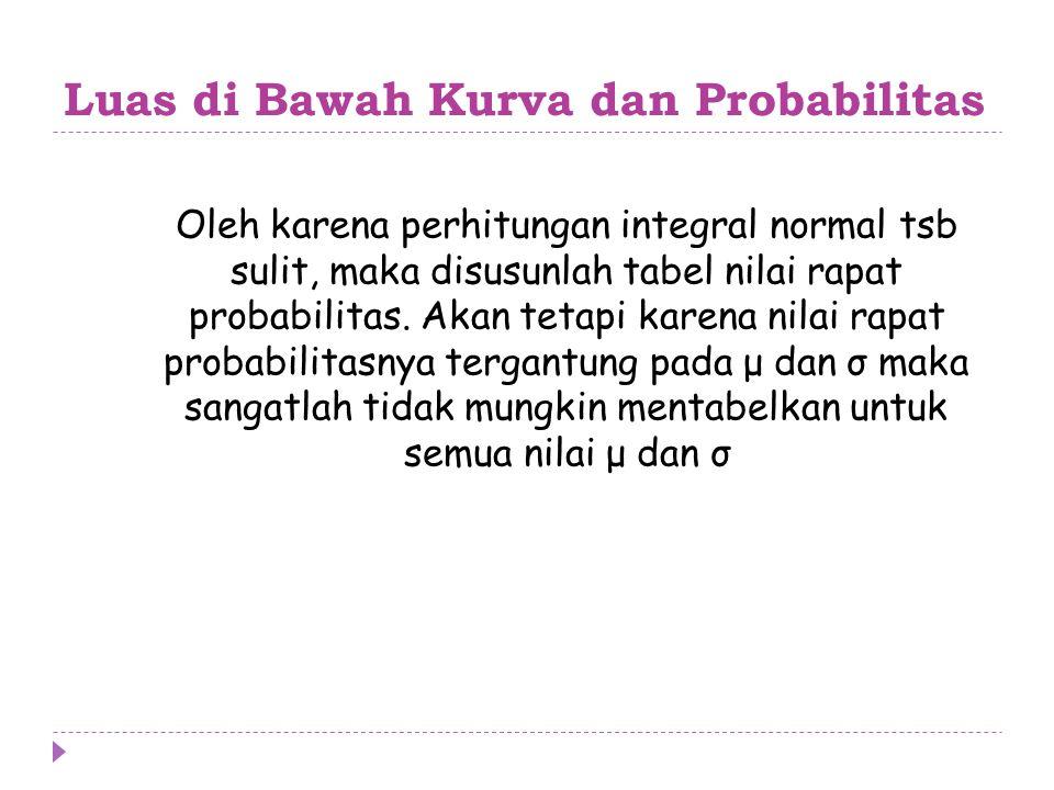 Luas di Bawah Kurva dan Probabilitas Oleh karena perhitungan integral normal tsb sulit, maka disusunlah tabel nilai rapat probabilitas. Akan tetapi ka