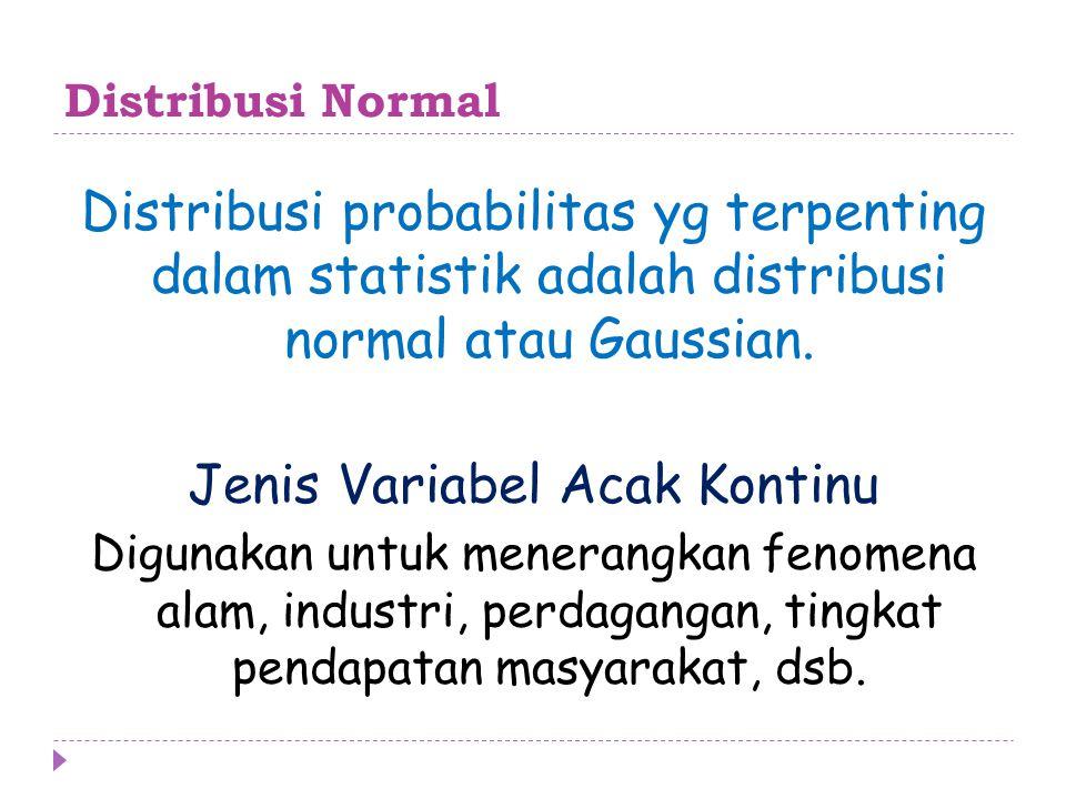 Distribusi Normal Fungsi rapat probabilitas variabel random X dengan mean μ dan variansi σ 2 yang memiliki distribusi normal adalah: Probabilitas ini dinyatakan sebagai P (a < X < b)